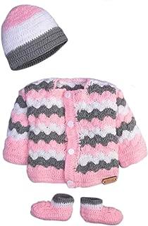 Hand Made 3 Piece Knitted Chevron Stripe Sweater Pink Grey & Blue Grey Baby Crochet Set- Newborn Toddler Wool Sweater Set