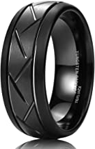 King Will TYRE 8mm Black/Silver Domed Tungsten Carbide Ring Matte Finish Groove Design Wedding Bands Comfort Fit