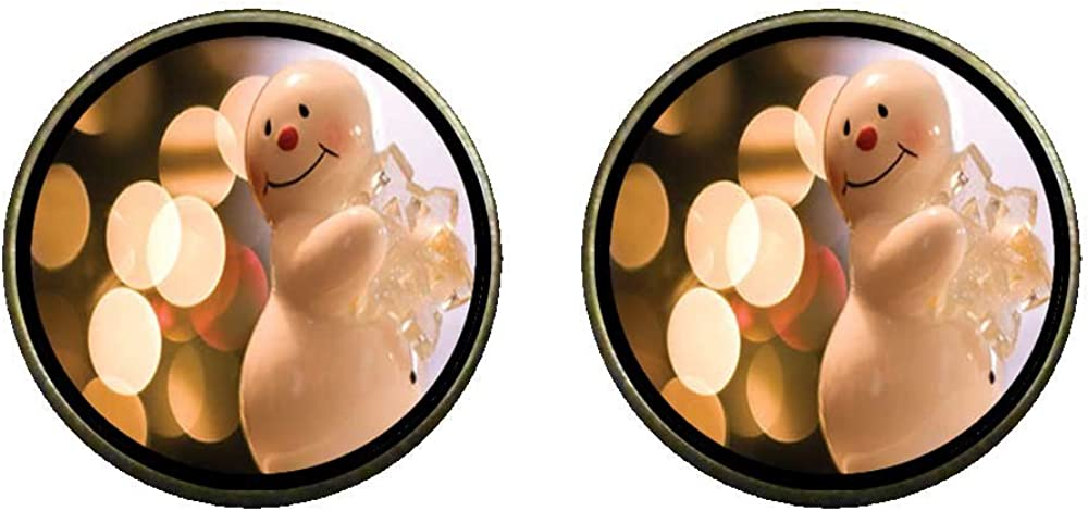 GiftJewelryShop Bronze Retro Style Cute Snowman Holding Pure Snowflake Photo Clip On Earrings #14