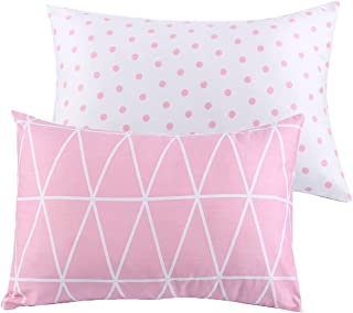 UOMNY Kids Toddler Pillowcases 2 Pack 100% Cotton Pillow Caver Pillowslip Case Fits Pillows sizesd 13 x 18 or 12x 16 for Kids Bedding Pillow Cover Baby Pillow Cases Pink Link/Dot