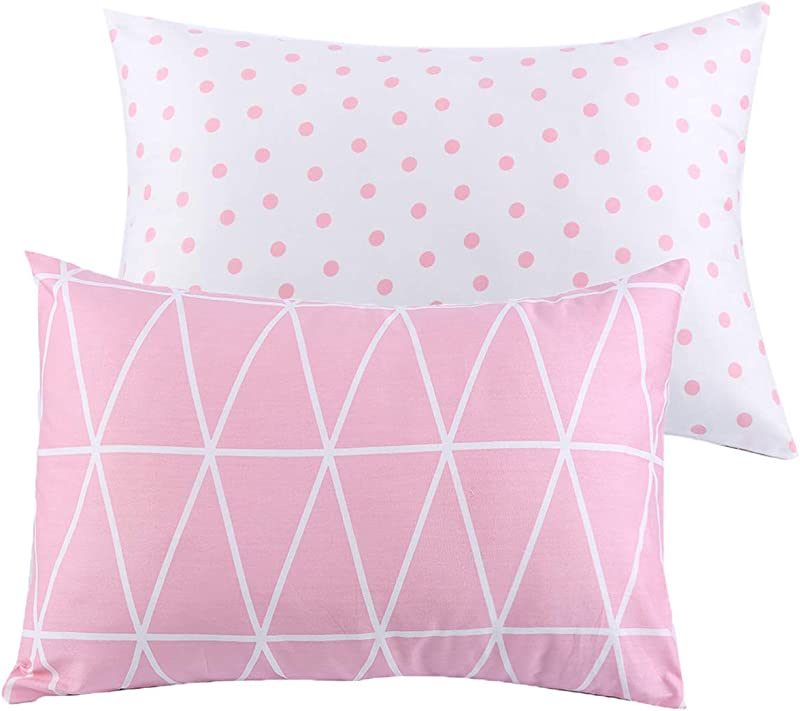 Kids Toddler Pillowcases UOMNY 2 Pack 100 Cotton Pillow Caver Pillowslip Case Fits Pillows Sizesd 13 X 18 Or 12x 16 For Kids Bedding Pillow Cover Baby Pillow Cases Pink Link Dot