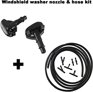 ZHParty Front Windshield Washer Fluid Hose(7Ft Long) with Connector & Hood Nozzle Sprayer kit for 1990-2005 Mitsubishi Lancer,EVO,Montero,Pajero–Replaces OEM # 8265A083,MR971044