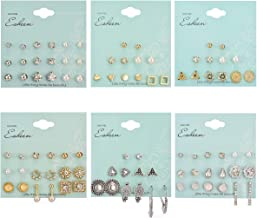 WAINIS 54 Pairs Assorted Multiple Stud Earrings Set for Women Girls Hypoallergenic Mix Hoop Studs Earring Jewelry