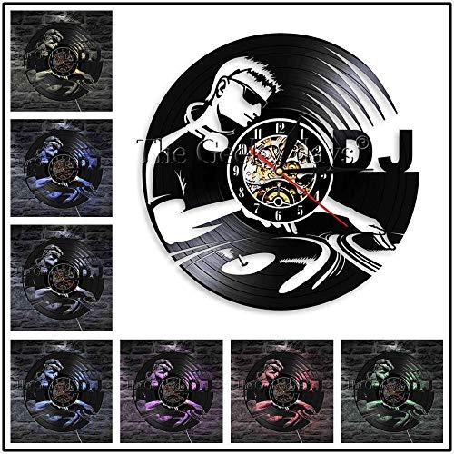 DJ Record Player Tocadiscos Vinilo Reloj de Pared Discoteca