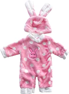 AOFUL Doll Clothes, Flush Bunny Jumpsuit Pajamas with Hat Fits 18'' inch American Girl Madame Alexander Dolls and More