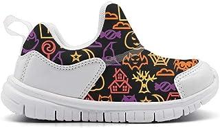 ONEYUAN Children Happy Halloween cat owl Ghost Yellow Kid Casual Lightweight Sport Shoes Sneakers Running Shoes