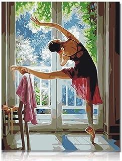 nobrand DIY Pintura Al Óleo Dibujo Ballet Balcón Pintar por Numeros para Adultos Niños Pintura por Números con Pinceles Y Pinturas Decoraciones para El Hogar Flor Purpura 40X50Cm