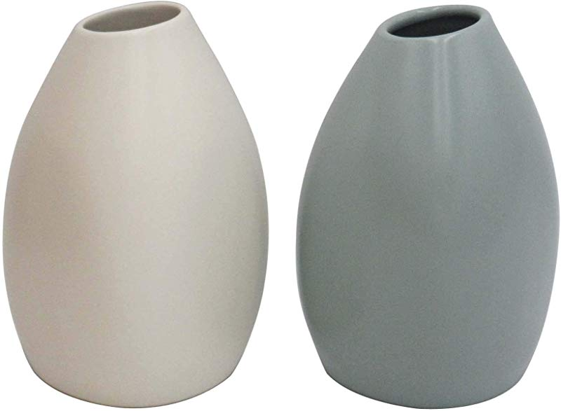Rivet Modern Stoneware Vases 2 Piece Set 5 2 H White And Blue Green