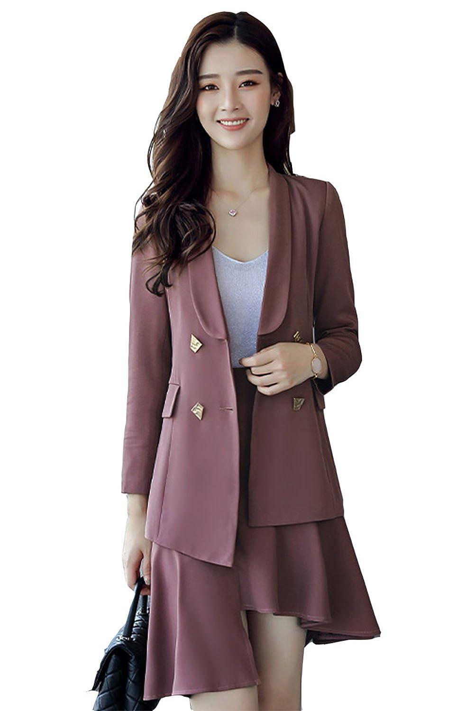 [美しいです] スーツ 洋服 レディース コート 二点セット ビジネス スカート 不規則 セット 春 秋 ウエスト締める イングランド風 スリム