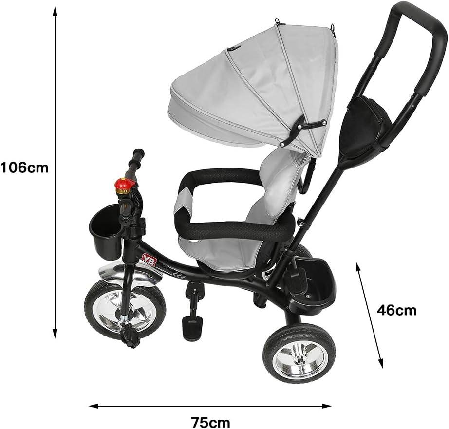 Tricycle B/éb/é /Évolutif avec Cloche et R/étroviseurs Gris Trycicle Evolutif Bebe pour Enfants de 1 /à 5 ans