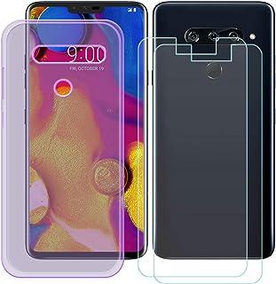 YZKJ Fodral för LG V40 ThinQ Cover lila silikon skyddande skal TPU skal skal skal skal + 2 stycken pansarglas skärmskydd f...