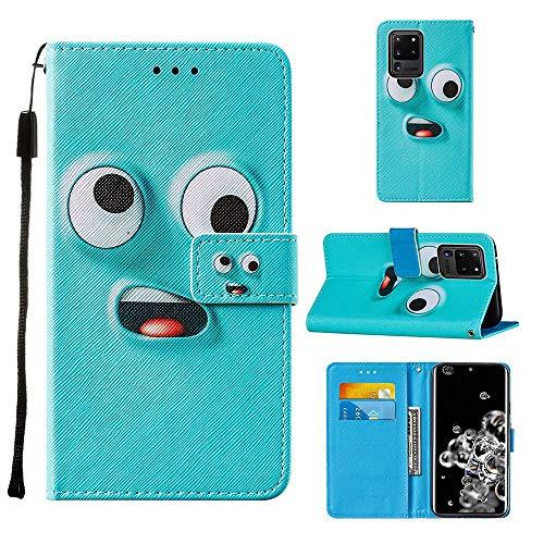 Miagon Lanyard Brieftasche Etui für Samsung Galaxy S20 Ultra,Lustig Groß Auge Entwurf Pu Leder Magnetverschluss Weich Innere Buchstil Schutzhülle Klapphülle mit Standfunktion