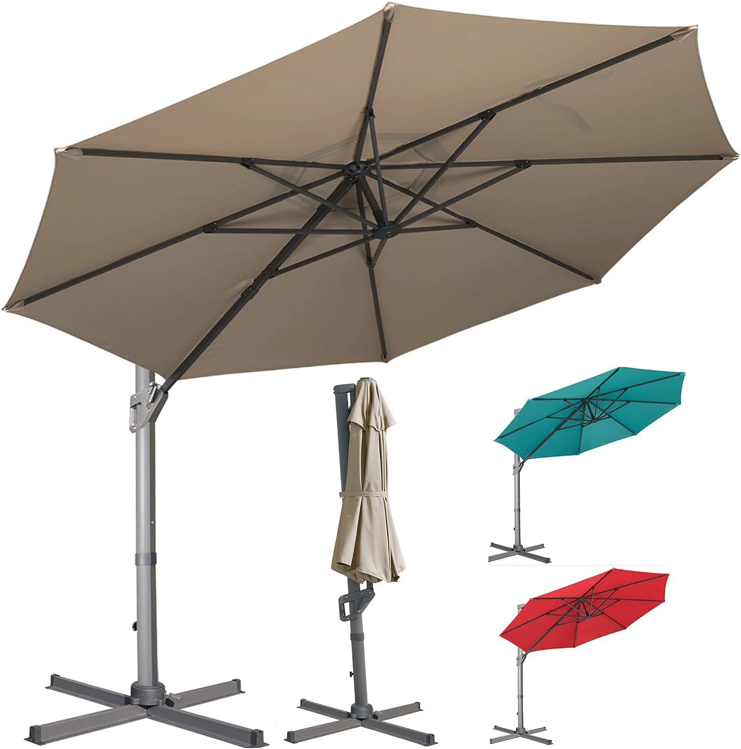 LKINBO 11FT Free Shipping Cheap Bargain Gift Offset Cantilever Patio Aluminum Outdoor Ha Umbrella Tulsa Mall