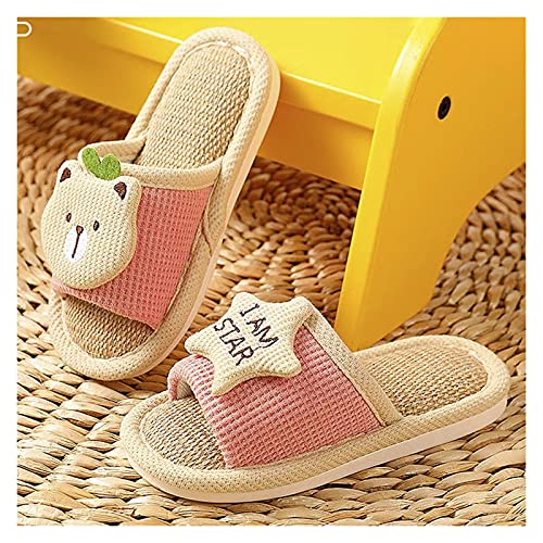 KHFSD Zapatillas Zapatillas Familiares, Zapatillas para niños, Zapatillas de casa Plana, Suave Transpirable, algodón de Punta de Puertas Abiertas Zapatillas para Interiores