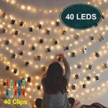 Photo Clips String Lights Bedroom - LED Fairy Lights Window Curtain Dorm Wall Picture Lights for Hanging Artwork Memos Paintings, Bedroom Dorm Home Décor, Battery Operated Indoor/Outdoor String Lights
