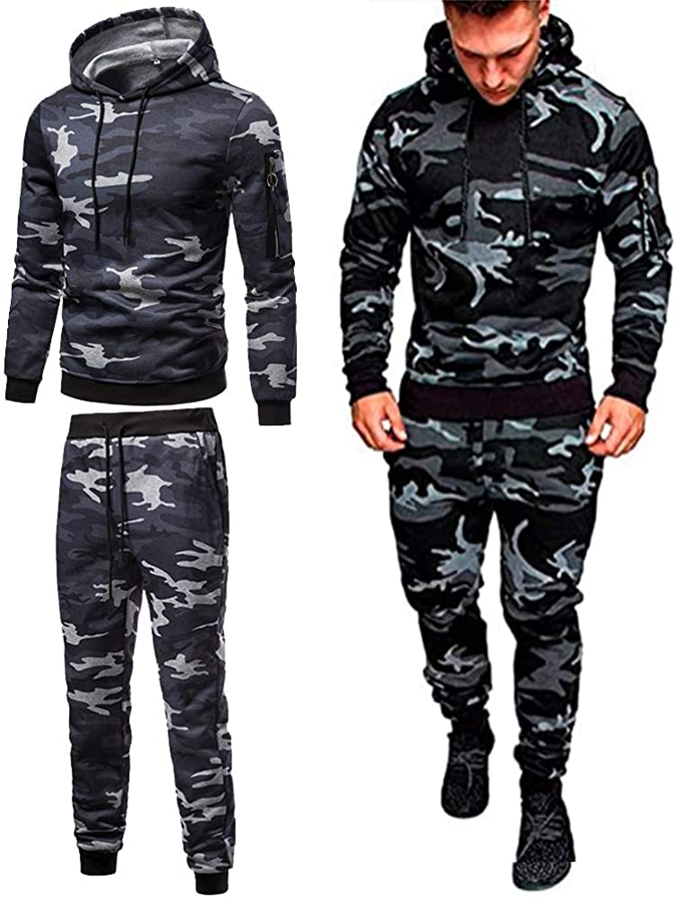 Mens Casual Relaxed Fit Tracksuits 2 Pieces Set Men's Fashion Sw