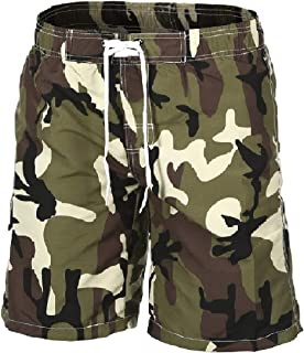 Men's Beachwear Board Shorts with Pockets Camoflage Quick Dry Swim Trunks Bathing Suits with Mesh Lining