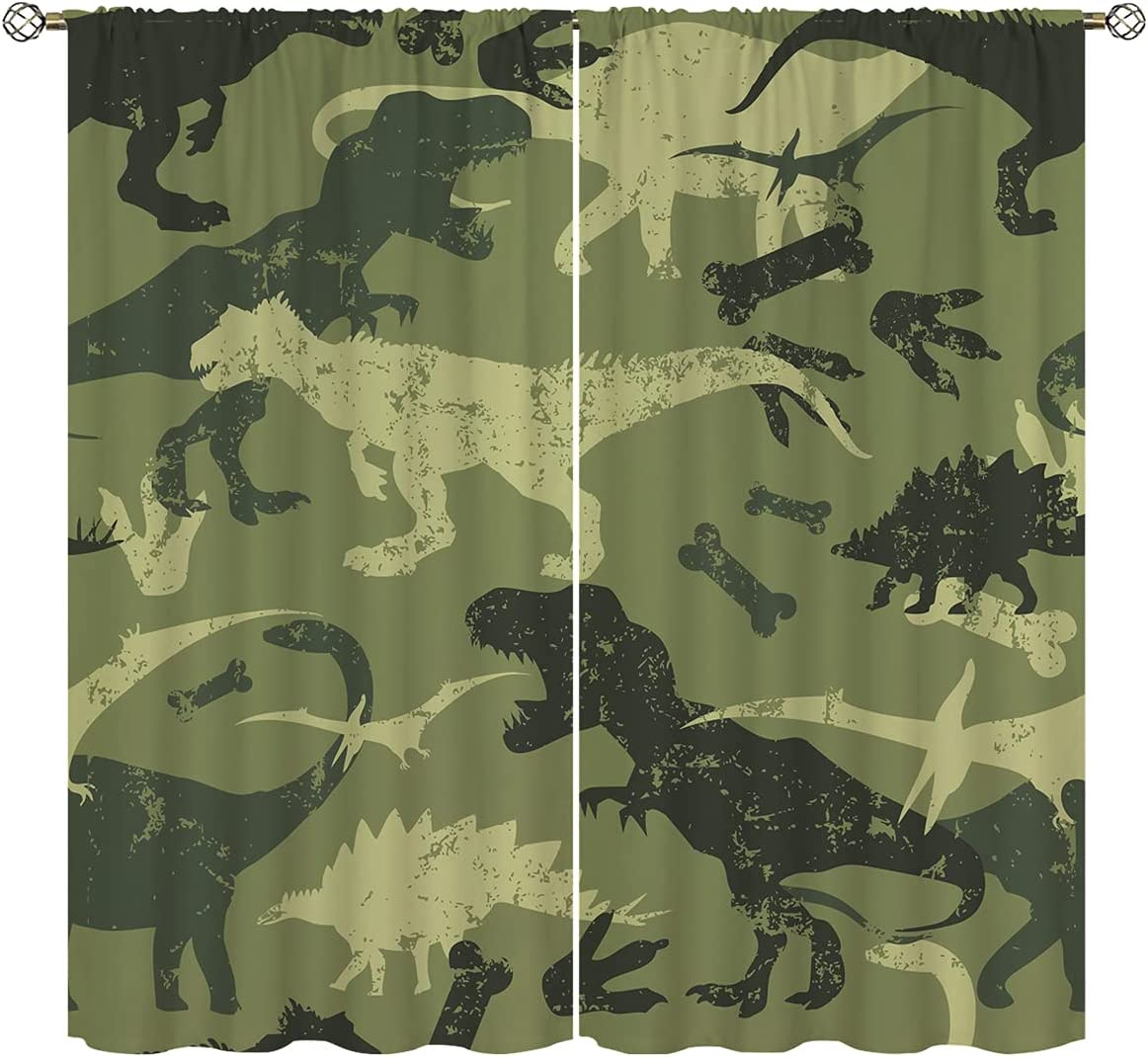 Camo Army Green Blackout Curtains Home Decor,Camouflage Cat Butterfly Star Dinosaur Airplan Rod Pocket Thermal Insulated Drapes Darkening Window Curtain for Girls Boy Bedroom Living Room 42 x 63 Inch