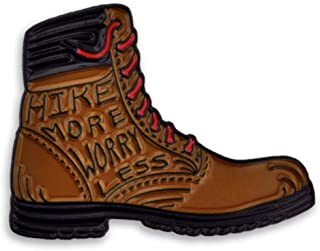 PinMart Hike More Worry Less Outdoor Nature Lover Hiking Boot Enamel Lapel Pin
