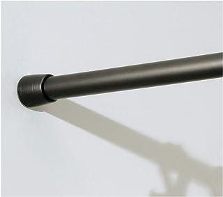 iDesign Barra para cortinas de ducha, soporte para cortinas de baño de tamaño mediano y de metal, barra telescópica extensible para instalar sin taladro, color bronce