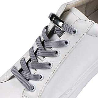 MLDFS 2 Paia di Lacci Elastici per Scarpe Lacci Elastici Fibbia in Metallo Senza Lacci per Bambini Adulti Pigri Lacci per Scarpe da Ginnastica e Casual