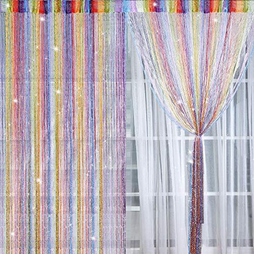 2 Pezzi Tende Fili Glitterate Pannelli Tenda di Cotone Finestra Porta Stringa Tende Antimosche, 100 x 200 cm (Multicolore)