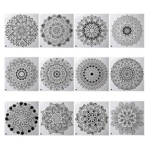 YUEAON 12-Pack (12x12Inch) Reusable Painting Stencils for Floor Wall Tile Fabric Furniture Wood Burning Art&Craft Supplies Mandala Template
