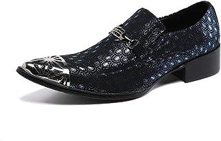 YIZHIYA Chaussures en Cuir Pointues pour Hommes,Chaussures d'uniformes habillées Homme Respirantes en Cuir véritable Brill...