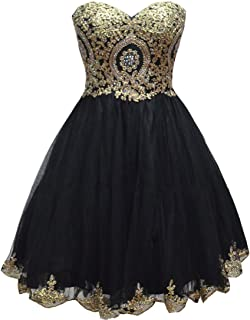 Lemai Tulle Little Black Short Gold Lace Corset Prom Homecoming Cocktail Dresses