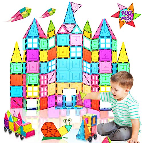 Landtaix Kids Magnet Tiles Toys New Upgrade 100Pcs Oversize 3D Magnetic Building Blocks Tiles Set,Inspirational Educational Toys for 3 4 5 6 Year Old Boys Gilrs Gifts