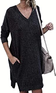 Womens V Neck Pullover Sexy Side Split Long Sleeve with Pockets Knitted Loose Sweater