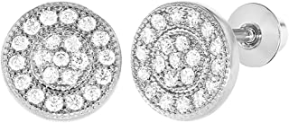 Rhodium Plated Micro Pave Clear Crystal Baby Girl Screw Back Earrings 7mm