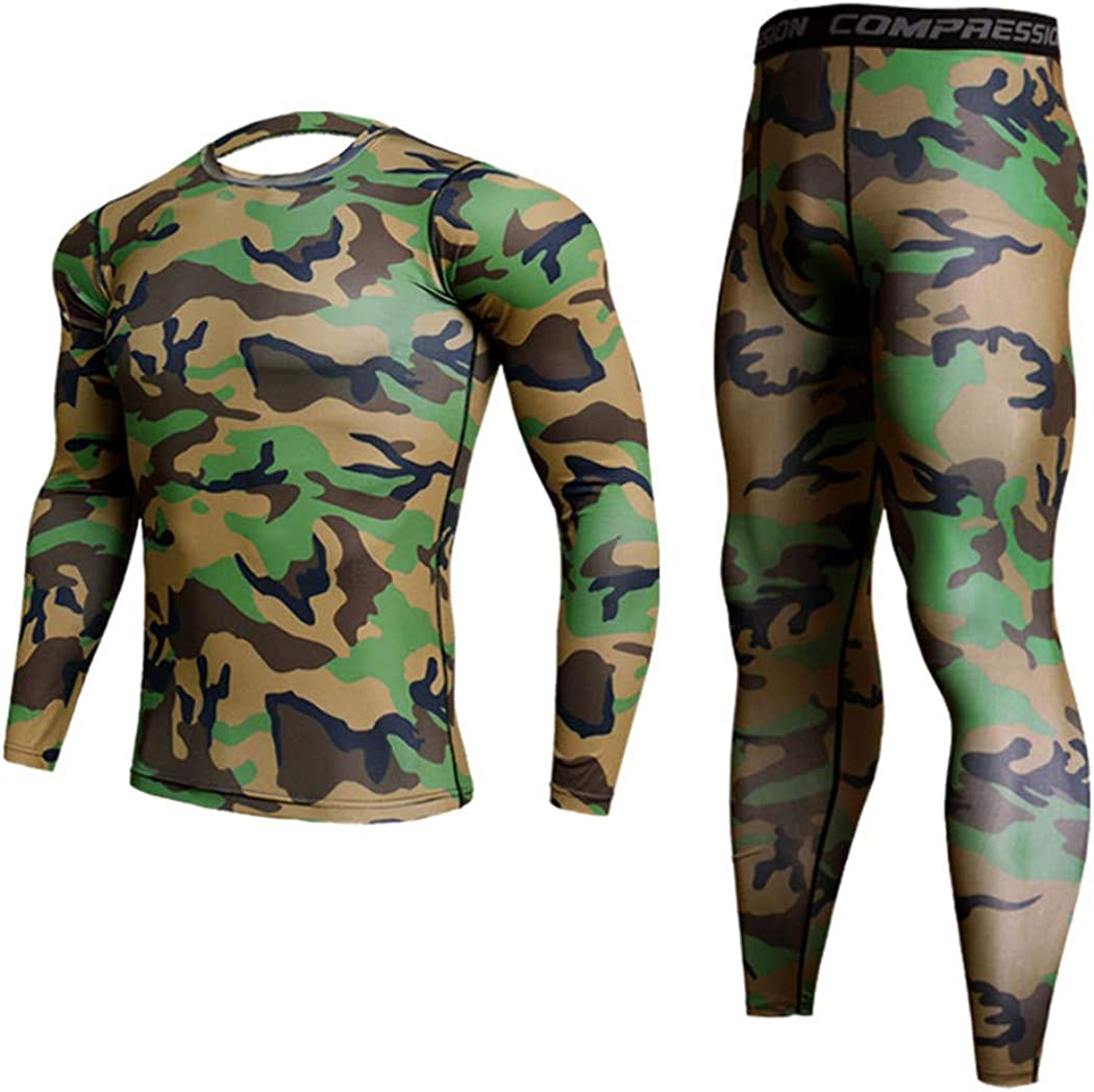 Men's Camouflage Underwear Set,Long Johns Winter Thermal Underwear,Base Layer,Sports Compression Long Sleeve Shirts