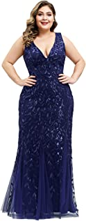 Alisapan Womens Mermaid Prom Gown Plus Size Evening Formal Dress 78861