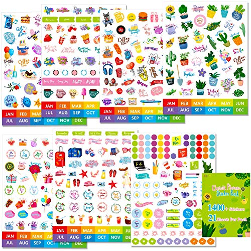 1400+ PCs Planner Stickers Set Elegant Design Accessories in Various Themes (Appointment, Activities, Holliday, Vacation etc.)