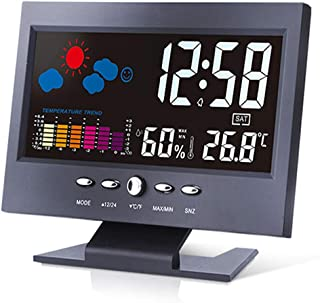 YIN YIN, higrómetro Temperatura, Pantalla en Color termómetro electrónico higrómetro seco Gran Pantalla con luz de Calenda...