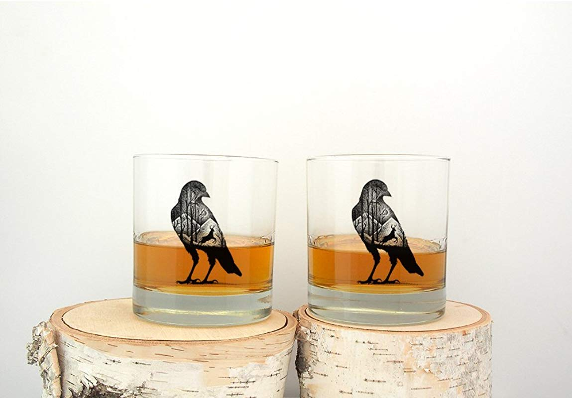 The Crow And Deer Rock Glassess Screen Printed Whiskey Glasses Set Of Two 11oz Tumblers