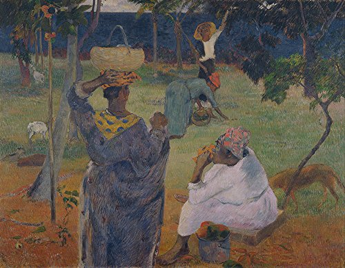 Spiffing Prints Paul Gauguin - Among The Mangoes at Martinique - Extra Large - Semi Gloss - Brown Frame