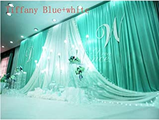 GoodsFederation 20x10ft Romantic Wedding Stage Decorations Backdrop Curtains with White Satin Yarn Gauze Background Silk Fabric Drape Curtains for Wedding Birthday Prom Party Event (Tiffany Blue)