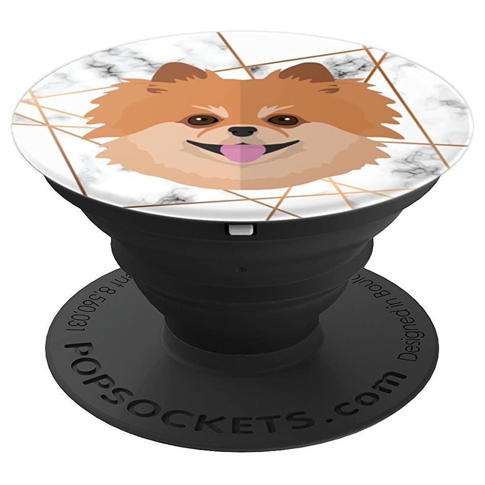 Funny Cute Pomeranian - Gold White Marble - PopSockets Grip and Stand for Phones and Tablets hofzuita4124