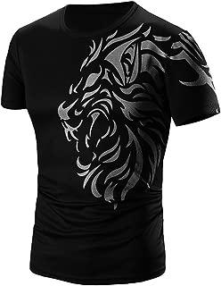 Xlala Men Short Sleeve Summer Fashion Dragon Printing T Shirt Solid Color Tees Slim Fit Tops Personality Novelty Clothes