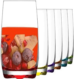 Drinking Glasses, Multicolored Highball Glasses, Tumblers Set of 6 Drinking Glasses - 390 ML
