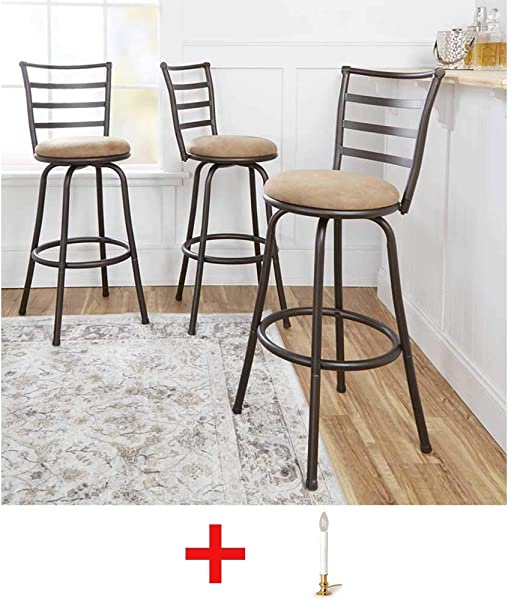 Mainstay 3 Piece Ladder Back Ajustable Height Sturdy Metal Frame Swivel Barstool Comfortable Seat Cushions Hammered Beige Finish With Rug