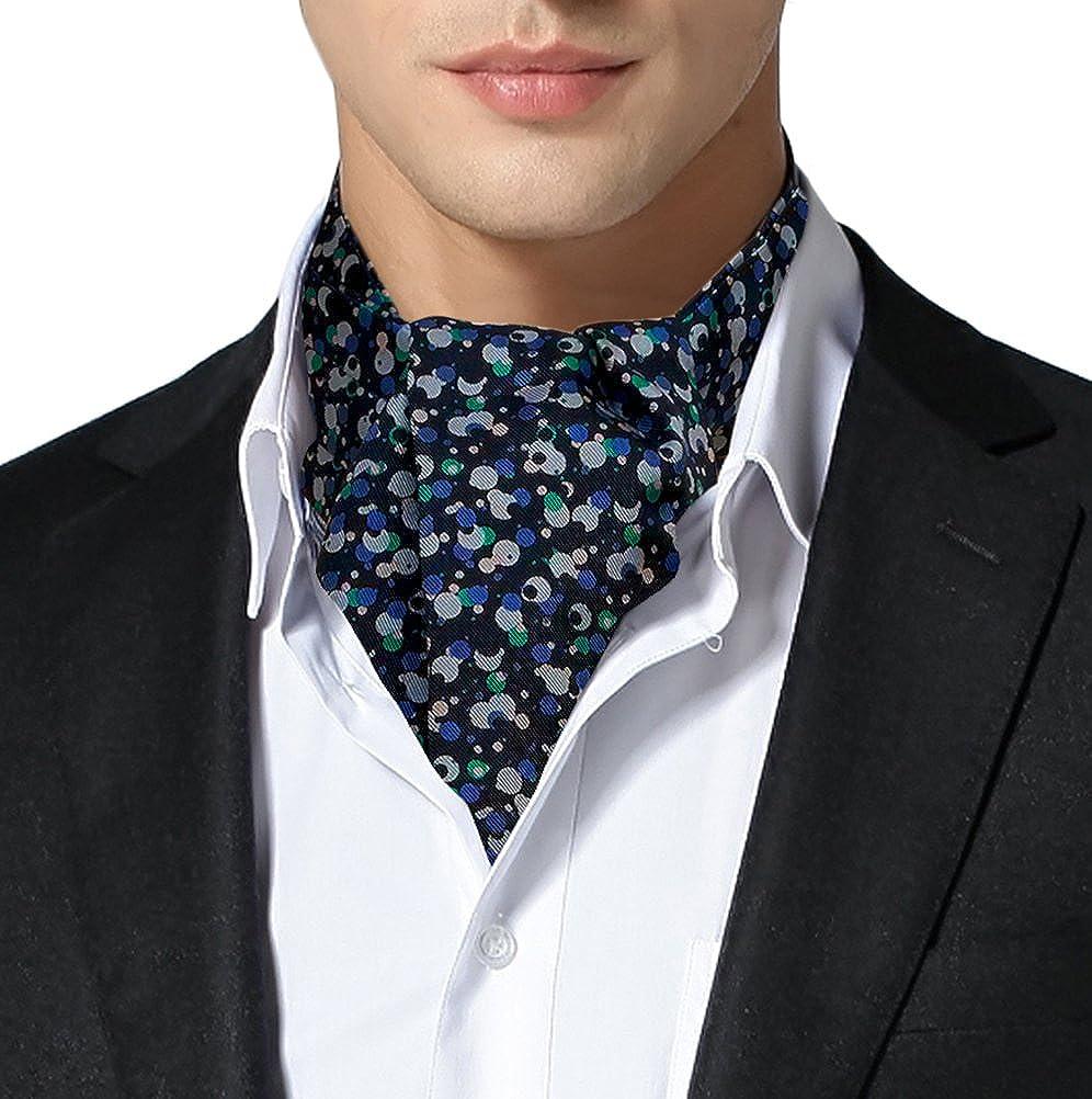 Remo Sartori Made in Italy Men's Dots Self Cravat Ascot Tie, Double Pointed, Silk