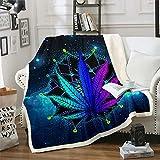 Erosebridal Cannabis Leaves Flannel Blanket Bohemian Mandala Sherpa Blanket Marijuana Weed Leaf Plush Blanket Galaxy Starry Sky Trippy Bed Blanket, Blue Purple Fuzzy Blanket Throw 50'x60'