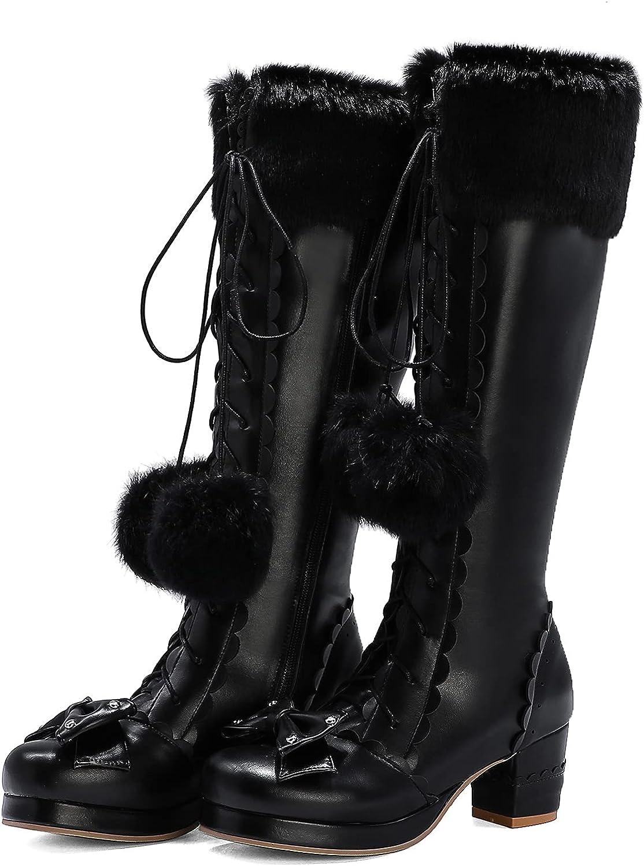 CYNLLIO Women's Cute High Heel Boots Kawaii Lace-up Lolita Boots with Zipper Sweet Knee High Knight Boots Comfortable Mid Calf Boots