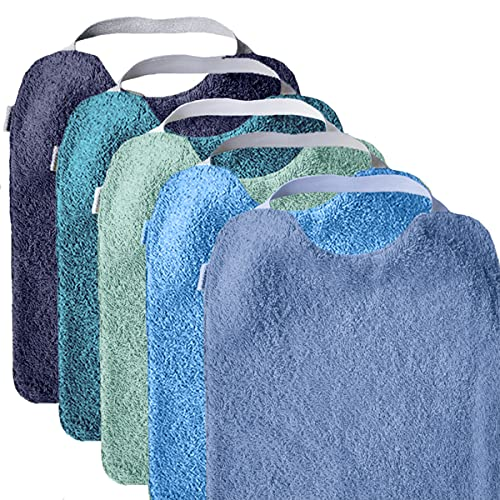 MIMUSELINA Pack 5 BABEROS RIZO GUARDERÍA con goma para fomentar AUTONOMÍA. Lavables, interior IMPERMEABLE y exterior RIZO ABSORBENTE máxima calidad. Babero goma cuello. (AQUA) ✅