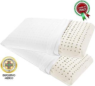 Goldflex - Par de 2 Cojines de látex con Forma de jabón, Altura 14 cm, con Canales de ventilación, Transpirables, recubierta de un Tejido Protector, 100% algodón