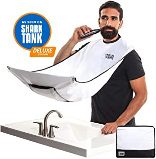 """BEARD KING - The Official Beard Bib - Hair Clippings Catcher & Grooming Cape Apron - """"As Seen on Shark Tank"""" - White (Deluxe Version)"""