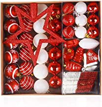 80 Pcs Baubles Xmas Ornament Christmas Balls Christmas Tree Decoration Snowflake Pendant Red